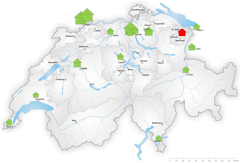 Grosse und mittlere Kunstmuseen in der Schweiz und im nahen Ausland. (Grün: zeitgemässe Gebäude. Rot: keine zeitgemässen Gebäude)